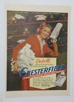 Original Print Ad 1944 CHESTERFIELD Cigarettes They Satisfy Buy War Bonds