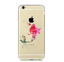 iPhone 6/6s (4'7) carcasa gel silicona transparente Dibujos disney Sirenita Rosa