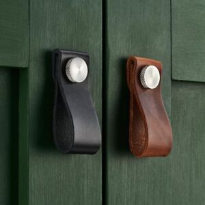 Small Cowhide Leather Cabinet Drop Pulls With Silver Brass Studs