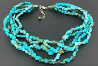 """Vintage Natural Turquoise Multi Strand Beaded Necklace 16"""""""