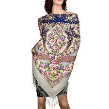 AUTHENTIQUE  foulard châle russe Pavlovo Possad en laine 146 cm neuf