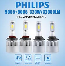 4x 9005/9006 LED Total 320W 32000LM Combo Headlight High 6000K White Kit Bulbs