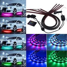 "7 RGB Color Under Car Body Remote Underglow Neon Light Bar Led Strip 36""X2 48""X2"
