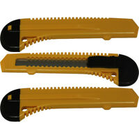 3 Safety Box Cutter Utility Knife Tool Retractable Snap off Razor Blade YELLOW