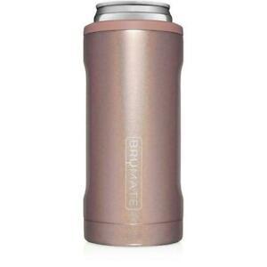 Brumate Hopsulator Slim Can Cooler Tumbler 12 oz Drink Holder Glitter Rose Gold