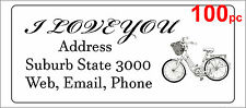 100 Personalised return address label custom adhesive sticker 56x25mm bicycle