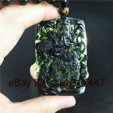 Certified Natural Black Green Jade Warrior Pendant Bead Necklace Charm Jewelry