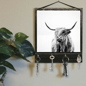 Highland Cow Print Key Rack Holder, Jewelry Organizer for Entryway Table