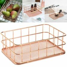 Modern Rose Gold Wire Mesh Storage Basket Box Container Home Bathroom Bedroom