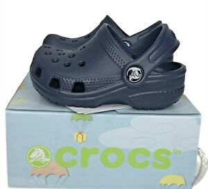 Crocs Baby Classic Clog Shoes Water friendly easy to clean lightweight Blue NEW