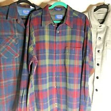 Lot 3 Cutters Pendleton Wool Shirts 2 Plaid and 1 Solid Gray Crafts Rug Hooking