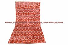 Indian Multi Ikat Print Vintage Gudri Handmade Bedding Bed Cover Kantha Quilt