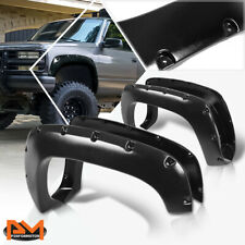 For 88-99 Chevy/GMC C/K Pocket-Riveted Style ABS Wheel Fender Flares Matte Black