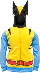 Mens Marvel Comics Wolverine Costume Cosplay Hoodie With Face Mask NWT M