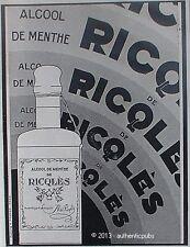 PUBLICITE RICQLES ALCOOL DE MENTHE FLACON ART DECO DE 1927 FRENCH AD PUB