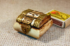 ANTIQUE Middle East CARVED CAMEL BONE & BRASS SMALL JEWELRY TRINKET BOX #4