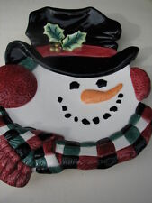 Fitz & Floyd Essentials Top Hat Snowman Canape Decorative Plate Or Hanging Decor