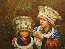 Oil painting beautiful Chinese young girl sisters Minority Hmong canvas