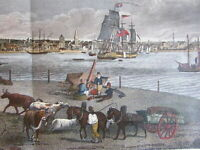 Liverpool England c.1844 Birds-eye view panorama lovely hand color