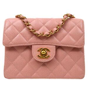 CHANEL Classic Flap Mini Square Chain Shoulder Bag 8652269 Pink Caviar 82773