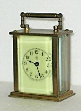 ANTIQUE MINIATURE WATERBURY BRASS CARRIAGE CLOCK WORKING PORCELAIN DIAL
