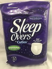 Sleep Overs by Cuties S/M 38-65 lbs 15 Ct Package Overnight Protection Pant New!