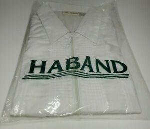 Mens Haband Zip Down Shirt Size XL Deadstock RARE NEW GUAYABERA Long Sleeve