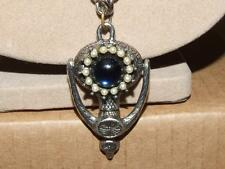 Vintage Door Knocker Style Blue Glass Cabochon Faux Seed Bead Pendant Necklace