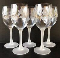 "Vintage Avon Hummingbird Frosted Crystal Wine Goblets 7 3/8"" Set Of 5"
