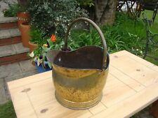 Vintage Large Heavy Brass / Copper? Helmet Coal Scuttle Jardiniere Planter