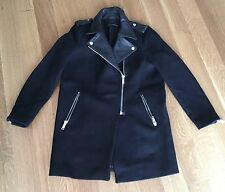 Zara Black Genuine Leather Lapels Biker Moto Jacket Coat Silver Zippers Sz L
