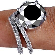 6.21 ct AAA BLACK MOISSANITE & WHITE NATURAL ROUGH DIAMOND .925 BRIDAL RING