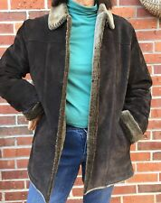 Womens Eddie Bauer Leather Jacket size Small soft Suede long cozy faux fur lined
