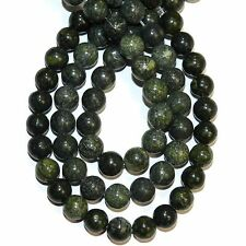 GR790f Green 8mm Round Natural Russian Serpentine Gemstone Beads 16""