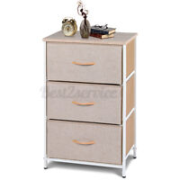 Drawer Dresser Shelf Organizer Bins Chest w/ 3 Fabric Drawers Tower Storage