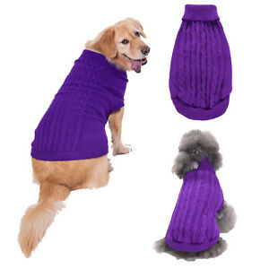 Classic Dog Sweater Coat Clothes Solid Color Knit Jumper Sweater Jacket Outfits
