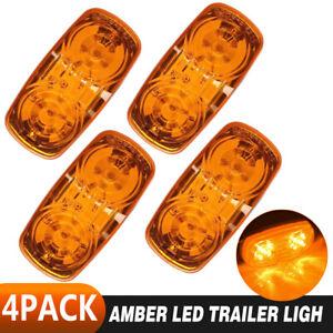 4PCS 12 LED Trailer Side Marker Clear Indicator Lights Car Truck Lens Lamp Amber