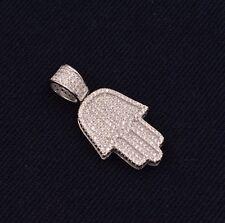 Micro Pave CZ Hamsa Hand of Fatima Evil Eye Luck Charm Pendant Sterling Silver