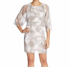 NEW Halston Heritage Dress 8 Medium White Gray Mist Kimono Sl Open Back $395