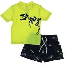 NWT $34 Carters Infant Boy Swim Trunk Rashguard DINOSAUR SKELETON Tee Set 12 Mo