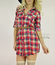 CHIC Pink Navy COUNTRY COWGIRL Plaid Tunic Button Down Top Shirt Blouse Dress M