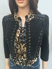 BNWT New Look Black Suede Jacket Size 10 Crop Gold Eyelets Lined 3/4 Sleeves