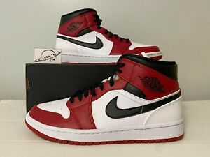 """Nike Air Jordan 1 Mid """"Chicago"""" White Heel Gym Red 554724-173 Men & GS"""