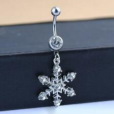 Snowflake Dangle Belly Button Navel Ring Crystal Stone Body Piercing Jewelry