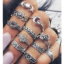 11Pcs/Set Vintage Silver Boho Arrow Moon Midi Finger Knuckle Rings Jewelry WOMEN