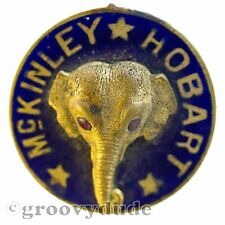 1896 President McKinley VP Hobart GOP Elephant Vintage 3D Enamel Stud Pin Button