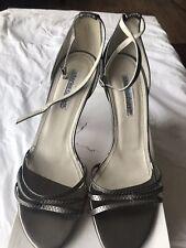 Designer BNIB Charles David Silver/Pewter Strappy Elegant Women Sandal Heels