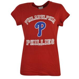MLB Philadelphia Phillies Bailey Womens Baby Doll Glitter Red Tshirt Tee Ladies