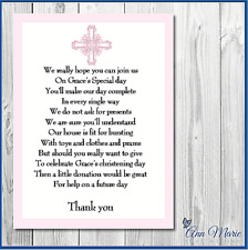 10 X PERSONALISED POLITE CHRISTENING BAPTISM MONEY GIFT REQUEST POEM