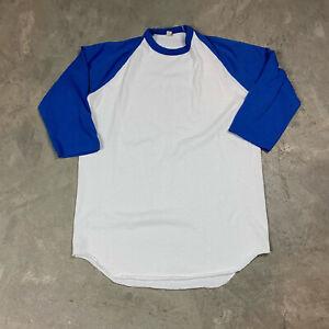 80s VTG SCREEN STARS BASEBALL T Shirt Blank Plain Raglan Sleeves L Blue White